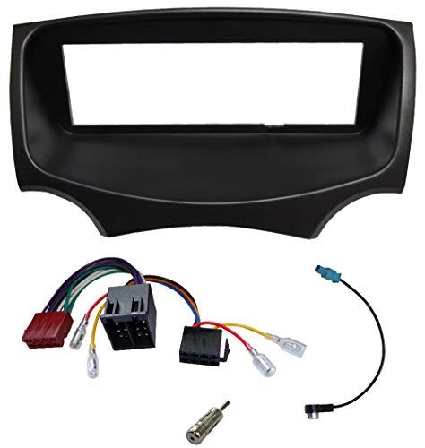 AERZETIX - Kit de montaje de radio de coche estándar 1DIN - Marco, cable enchufe y adaptadores de antena - Negro - C4349A
