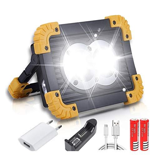 Changskj Suchscheinwerfer 100W beweglichen LED-Taschenlampe COB-Arbeits-Licht Flutlicht-Scheinwerfer wasserdichte USB aufladbare Energien-Bank (Emitting Color : C)