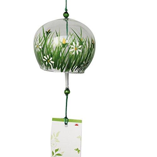 ACEVER Campanas de viento japonesas Furin campanas de cumpleaños boda Navidad decoración del hogar (hierba y flor)