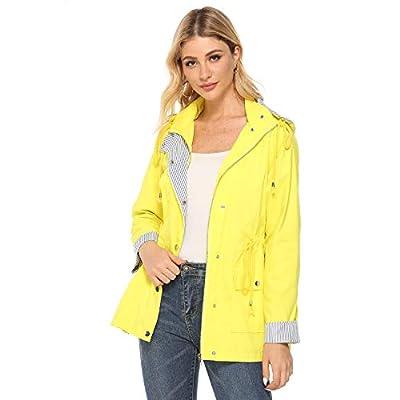 bedee Women's Raincoats Windbreaker RainJackets Lightweight Waterproof Ourdoor Hooded Trench Coats Yellow