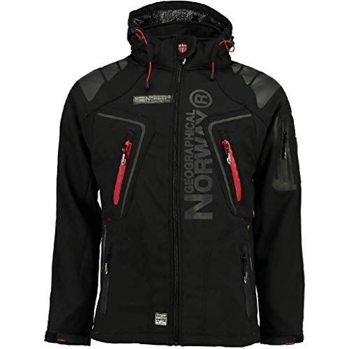 Geographical Norway Techno Softshelljacke Herren Kapuze abnehmbar, BLACK, XL