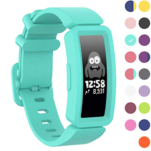 GVFM Compatible with Fitbit Ace 2 Bands for Kids 6+, Soft Silicone Bracelet Accessories Sport Strap Boys Girls Wristbands Compatible for Fitbit Inspire HR & Ace 2 (LakeBlue)
