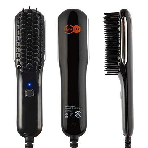 Hair Straightener Brush, Fast Heating Beard Hair Straightening Comb with High-Density Anti Scalding Comb Teeth (58% Off)