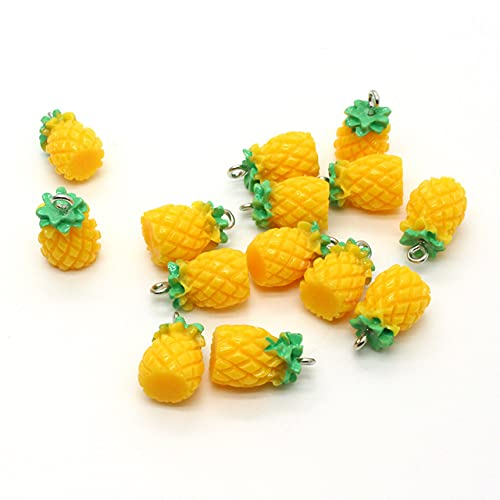 10Pcs Mini Fruit Pineapple Earring Resin Charms DIY Craft Food Pendants for Necklace Jewelry Make Accessory,boluo