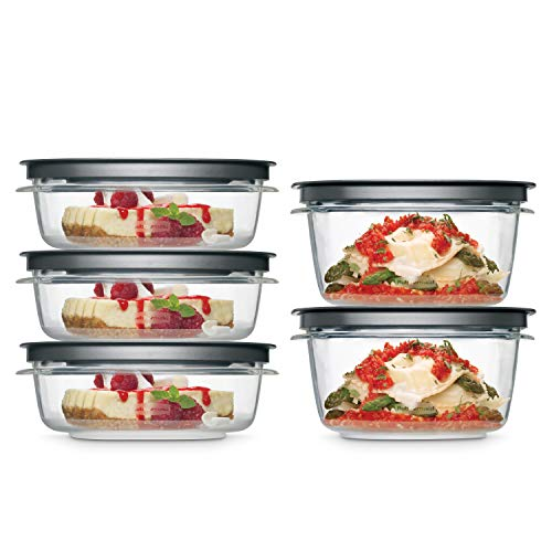 Rubbermaid 2108396 Meal Prep Premier Food Storage Container 10 Piece Set Grey