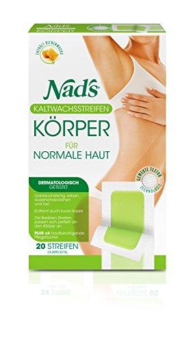 Nad's Kaltwachsstreifen - Haarentfernung für den Körper, alle Hauttypen, 20 Wachsstreifen + 4 Pflegetücher, Frauen