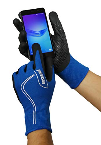 Rostaing serie Touch handschoenen overgangsjas handpalm klimplant functie telefoonnummer touchscreen + LEASH pols, zwart/blauw, 34 x 12 x 3 cm