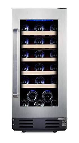 "Kalamera 15"" Wine Fridge 30 Bottle Built-in or Freestanding Wine Cooler Refrigerator with Stainless Steel Reversible Glass Door and Temperature Memory Function"