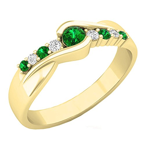 Dazzlingrock Collection 10K Round Cut Emerald & Diamond Ladies Bypass Engagement Ring 1/4 CT, Yellow Gold, Size 8 (0.25 Ct Center)