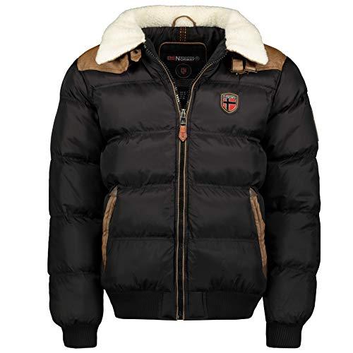 Geographical Norway Abramovitch Men Distribrands - Chaqueta Hombres Impermeable - Grueso Abrigo Capucha Al Aire Libre Abrigo Piel - Chaquetas Invierno Acolchada Parka Ideal Hombre (Negro L)