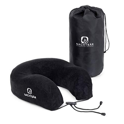 NACHTBÄR Premium-Nackenhörnchen | Nackenkissen | für Damen & Herren | flexibel fixierbar durch Clip | inkl. praktischer Aufbewahrungstasche für die Reise | super-kompakt | für Ihre Erholung unterwegs