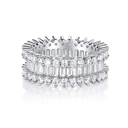 Eternity Rings 18K White Gold Plated Cubic Zirconia Simulated Diamond Rings Band for Women Men Her Size 9 as Promise Engagement Gifts