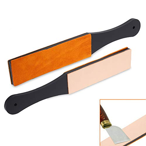 Afilador de maquinillas de afeitar, cinturón de maquinilla de afeitar, afeitadora manual tabla de afilar maquinilla de afeitar de cuero PU de doble tamaño afilador de cuchillos recto afilador
