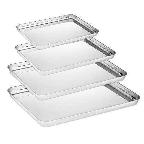 Velaze Plaque à pâtisserie, Plats à Four en Acier Inoxydable, Set de 4 pcs INOX Rectangulaire Poli-Miroir, Pas de Revêtement Sain et Non Toxique