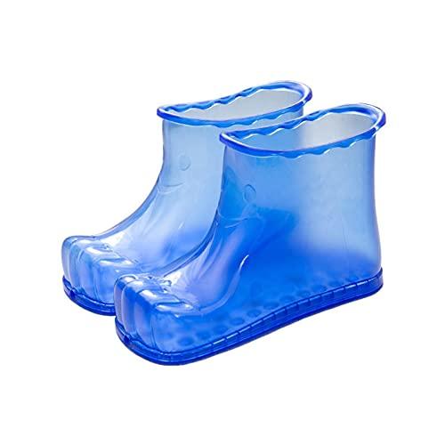 DFDHB Botas De Masaje para BañO De Pies,SPA Hogar RelajacióN Cubo Botas Cuidado Pies Hot Compres 16.5cm Azul
