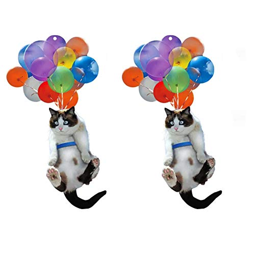 1/2PC Cat and Balloon Car Hanging Ornament, cat car hanging ornaments, Flying Cat with Colorful Balloon, Cat Car Hanging Ornament Car Hanging Ornament Home Decoration (2PC)