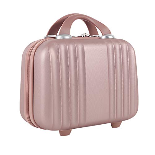Lzttyee Mini Hard Shell Polychrome Cosmetic Case Luggage, Small Travel Portable Carrying Case Suitcase for Makeup (Rose Gold)