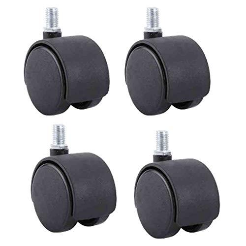 ZHDDM Kontorsstol Caster-hjul svängbar stjälk hjul nytt material nylon plast svängbara möbelhjul golvskydd gängad stam med broms 50mm Without Brakes