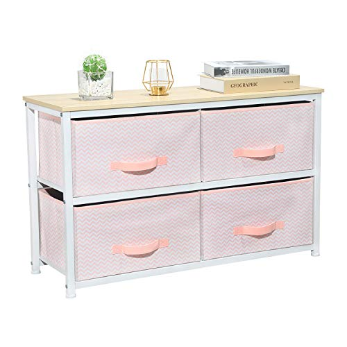 Aingoo Wide Dresser Storage Tower with 4 Fabric chests Drawers Closet Organizer Unit with Sturdy Steel Frame and Wood Top for Bedroom Hallway Entryway Closets, Easy Pull Handle Pink