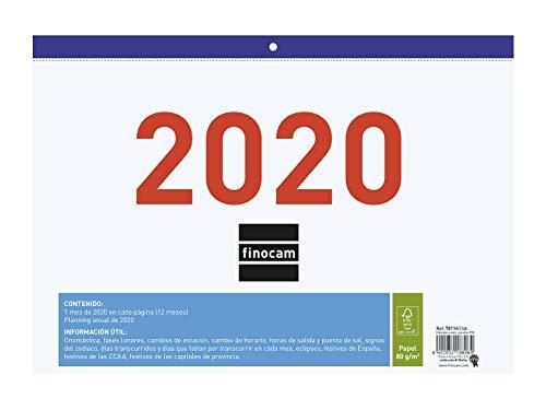 Finocam - Calendario/Faldilla 2020 Números Grandes F93 español
