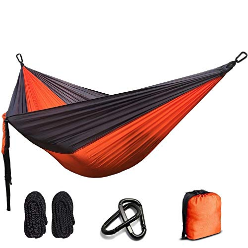 camping hammock for outdoor, single & double portable hammock with tree straps & carabiners lightweight nylon parachute hammock for camping travel backpacking hiking backyard beach (hold up to 550lbs)