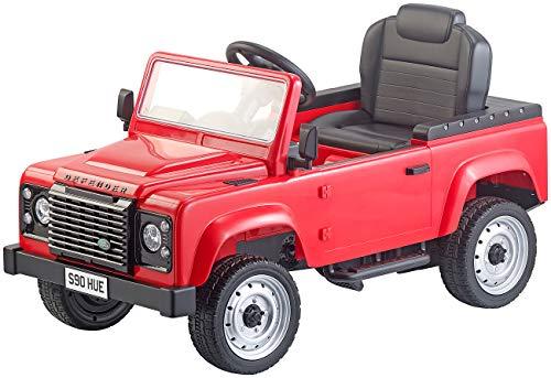 Playtastic Tretauto: Kinderauto mit Land-Rover-Lizenz, Tretpedalen und Eva-Rädern, rot (Kinder-Fahrzeug)