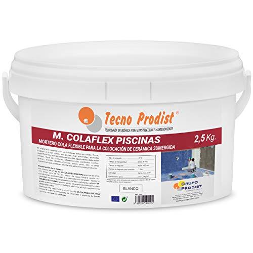 M-COLAFLEX PISCINAS de Tecno Prodist (2,5 Kg) Adhesivo cementoso mejorado flexible ideal para la colocación de baldosas en contacto permanente con agua como piscinas, depósitos agua, etc (Blanco)