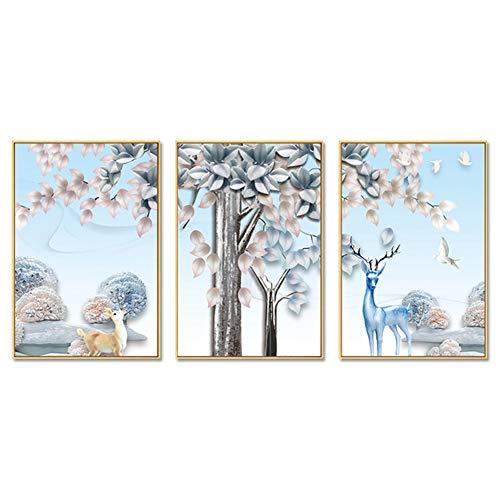 ZFFLYH Wandbilder, Set Von 3 Animal Prints, Wohnzimmer-Dekorative Wandmalerei Sofa Hintergrund Gemälde Restaurant Hanging Gemälde (30 * 40CM),Athens White,1