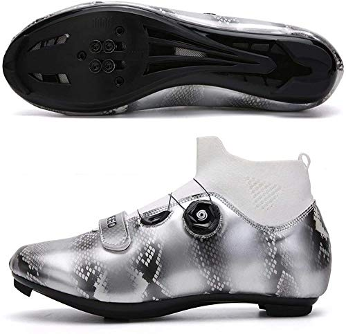 JINFAN Cycling Shoes - Breathable Cleat Compatible Road Cycling Riding Shoes with SPD Cleats Perfect for Road Racing Bikes with Cleats,Gray-43EU=(265mm)