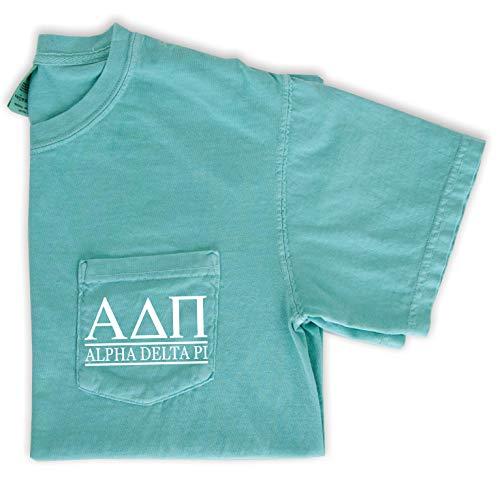 Alpha Delta Pi T-Shirt | Sorority Comfort Colors Pocket Tee | ADPi Letters (Large, Mint)