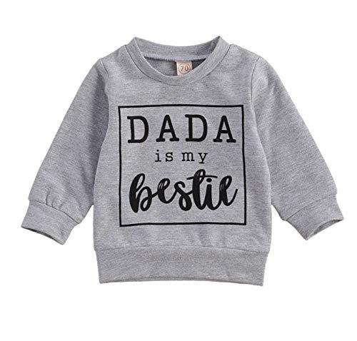 Baby Boy Letter Mom Bestie Print Sweatshirt Long Sleeve Pullover Casual T-Shirt Tops Long Pants Fall Winter Outfits (Dada Bestie Print&Gray, 12-18 Months)