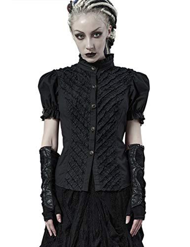 Punk Rave Damen Steampunk Vintage Stand Kragen Button Down Shirt Kurzarm Kleid Bluse 3XL