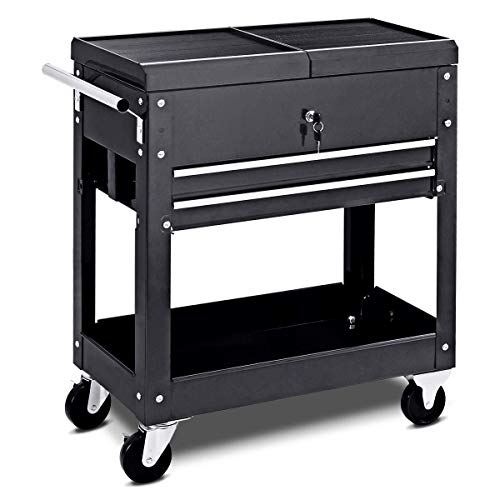 Rolling Tool Cart Mechanics Slide Top Utility Storage Cabinet Organizer 2 Drawers
