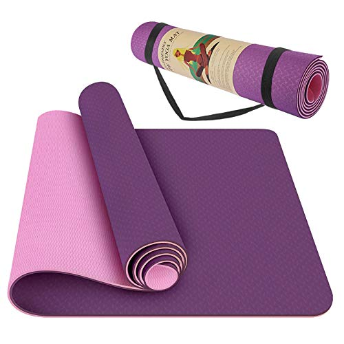 StillCool Yoga Mat - Classic 1/4 inch Pro Yoga Mat Eco Friendly Non Slip Fitness Exercise Mat with Carrying Bag - Workout Mat for Yoga, Pilates and Floor Exercises (Purple TPE, 1/4 inch)