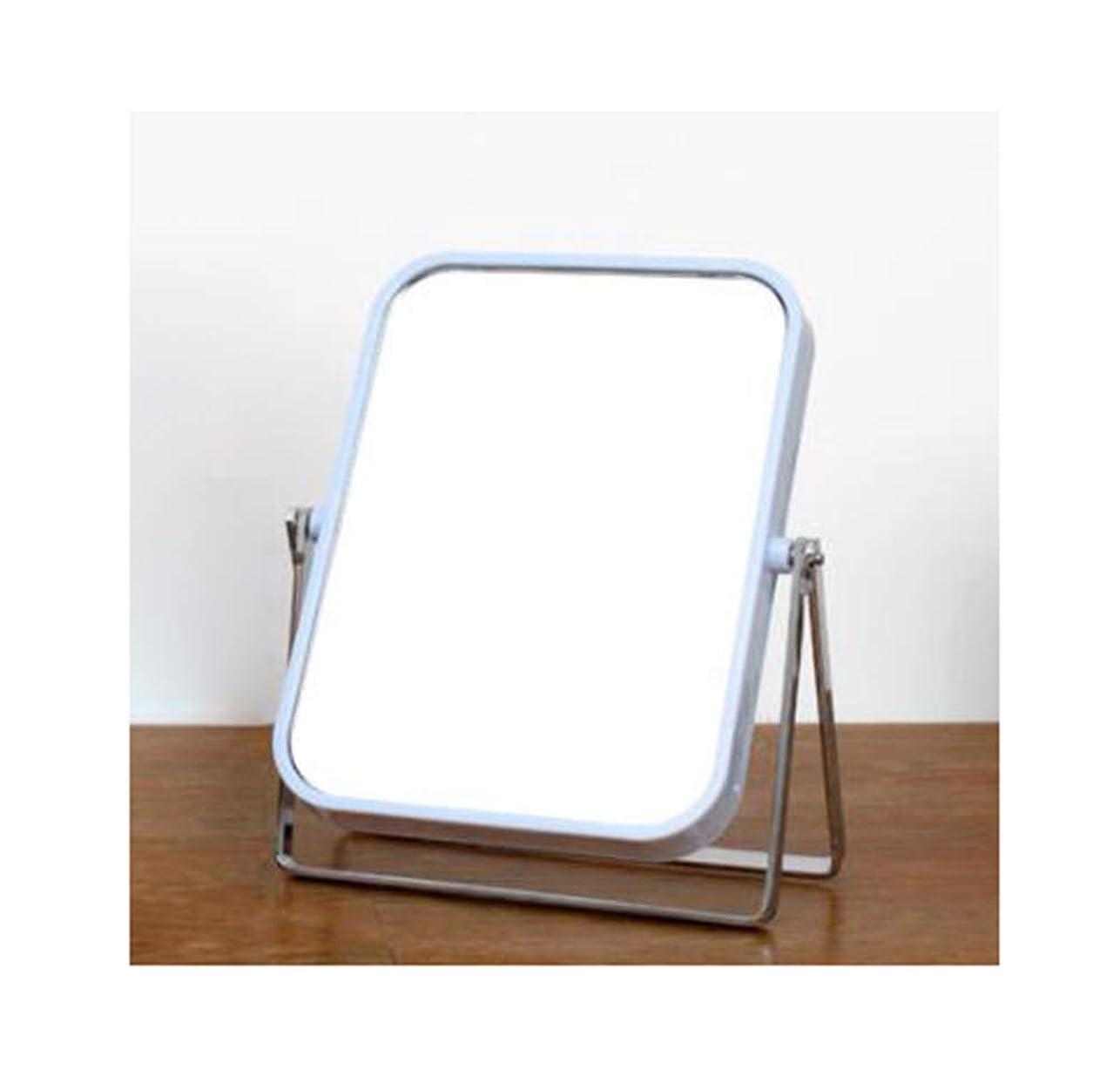 行為浸すギャングメタルフレーム化粧鏡360度回転デスクトップダブルミラー女性寮ミラー (Color : Blue)