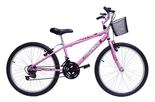 Bicicleta Aro 24 Feminina 18 Marchas Kitty Saidx (Rosa)