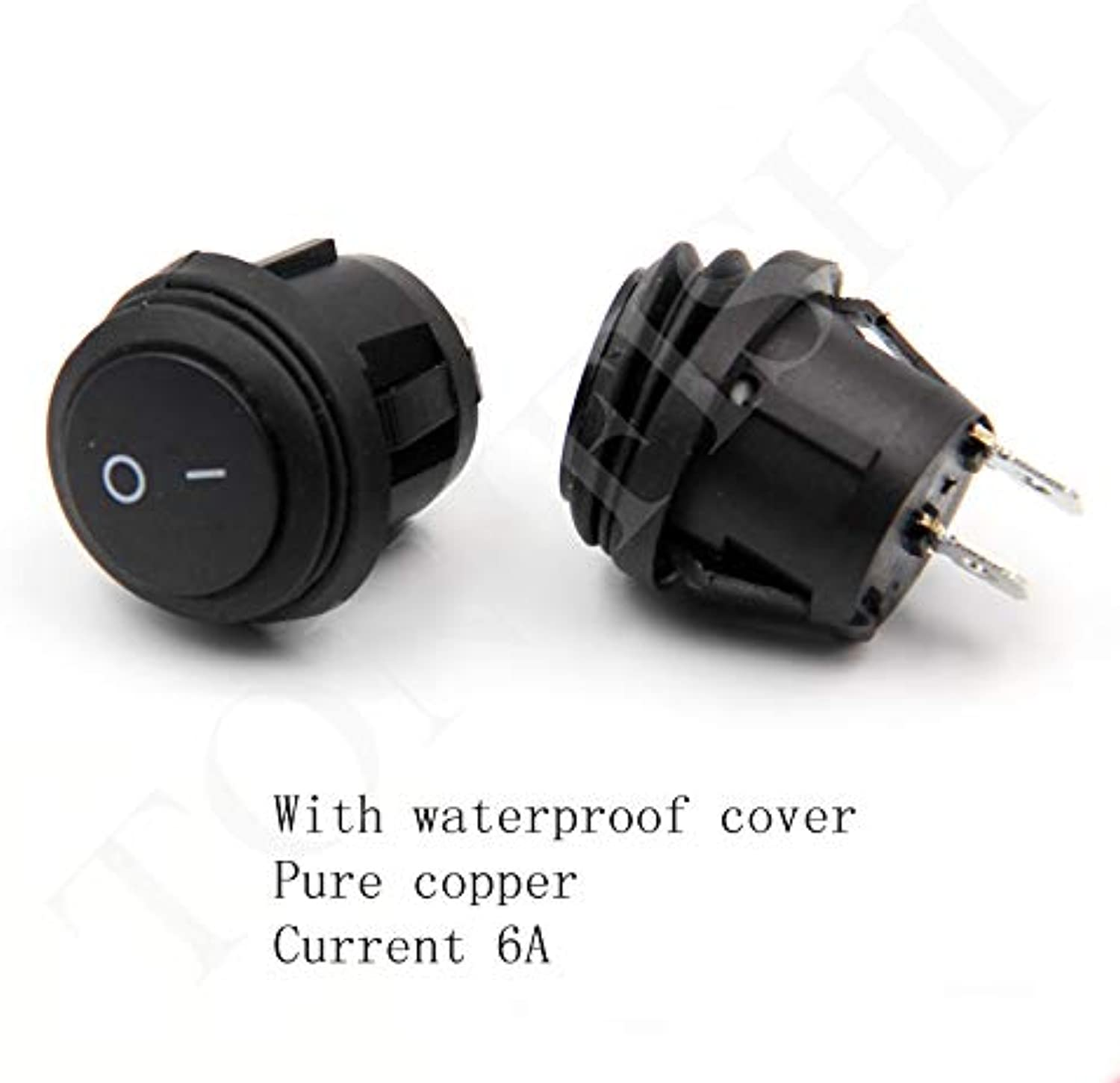 Rocker Switch Round Switch with Waterproof Cover 2 feet 2 Files KCD1 Black 6A 250V 10A125V