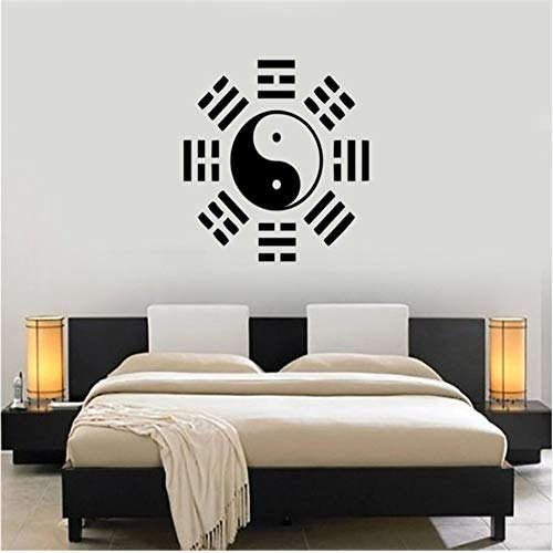 Lovemq 57 * 57 Cm Oriental Filosofía China Pegatinas De Pared De Vinilo Wallpaper Yin Yang Taiji Tatuajes De Pared Cultura China Decoración Mural Dormitorio