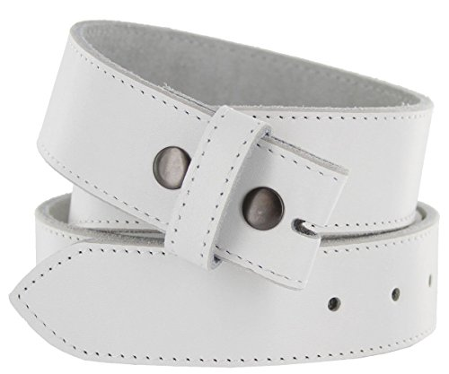 """100% Cowhide Leather Leather Belt Snap on Belt Strap 1.5"""" Wide (38, White)"""