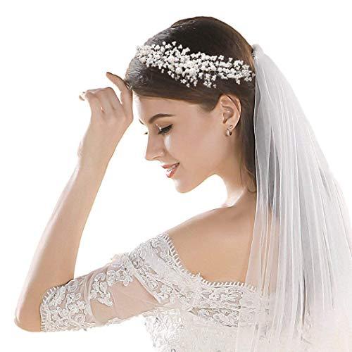 Simsly - Haarschmuck, Haarreifen, Brautschmuck, mit Perlen - Haarreifen, für Braut und Brautjungfern (Silber), FS-164