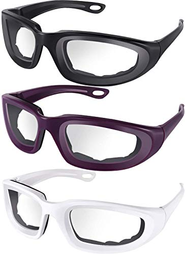 3 Pieces Onion Goggles Glasses Anti-Fog No-Tears Kitchen Onion Glasses with Inside Sponge for Chopper Onion Tearless BBQ Grilling Dust-proof for Women Men Cleaning Kitchen(Black, white, purple)