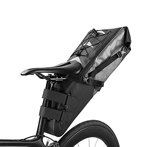 Bolsa de sillín de Bicicleta Impermeable Paquete de Asiento Trasero de Ciclismo de Gran Capacidad Negro, Accesorios de Bicicleta, Adecuado para Bolsas de Almacenamiento de Bicicletas de Carr