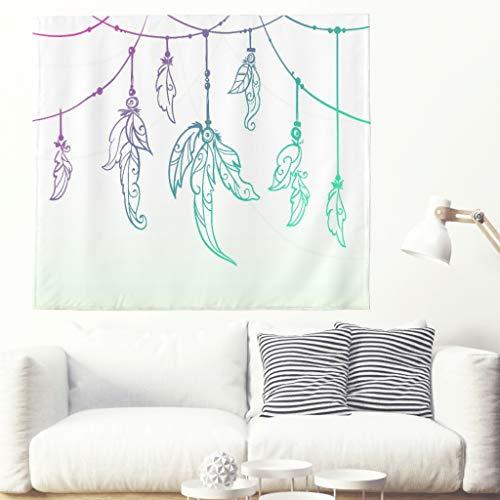 Tapisserie murale style bohème style hippie, décoration murale psychédélique simple à suspendre, style indien, décoration intérieure pour salon, chambre à coucher, dortoir, blanc, 91x59inch