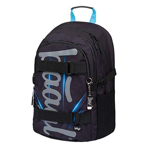 Schulrucksack für Jungen Teenager - Skateboard Rucksack - Kinderrucksack mit Laptopfach und Brustgurt für Schule (Skate Bluelight)