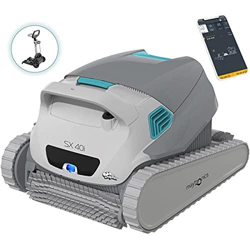 DOLPHIN Robot Limpiafondos de Piscina Automático - Cubre hasta 12 m - Incluye App y WiFi - Limpia Fondo, Paredes y Línea de Flotación - Accesorios Piscina - Garantía de 3 Años SX 40i Maytronics