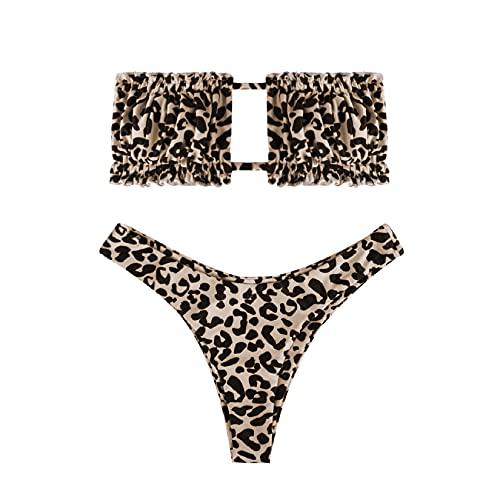 Voqeen Costumi da Bagno Donna Due Pezzi Bikini Push Up Bendare Costume a Fascia Tankini Swimwear Swimsuit Abiti da Spiaggia Mare Vacanze Estiva(A,M)