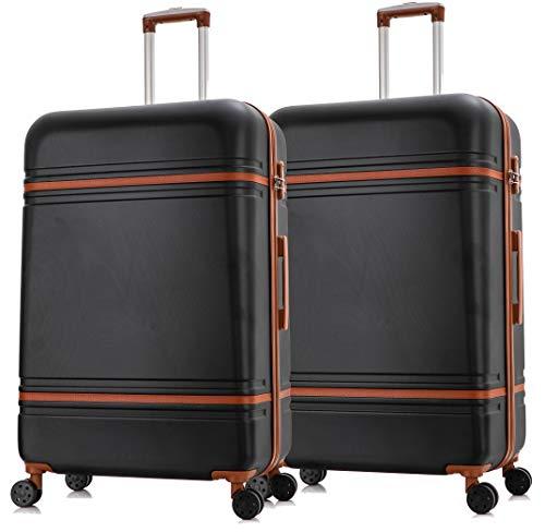 Starlite Luggage 2 x 24' Medium ABS147 Hard Shell Suitcase 4 Wheel Spinner Black