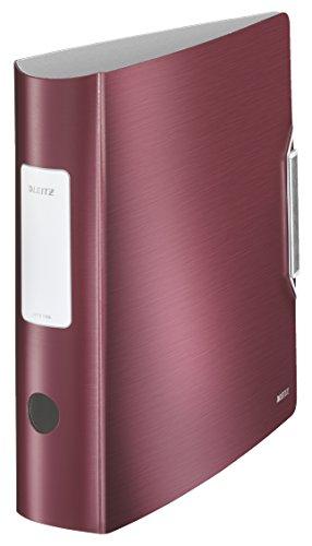 Leitz 11080028 Multifunktions-Ordner (A4, Runder Rücken (8, 2 cm Breite) Gummibandverschluss, Kunststoff, Active Style) granat rot
