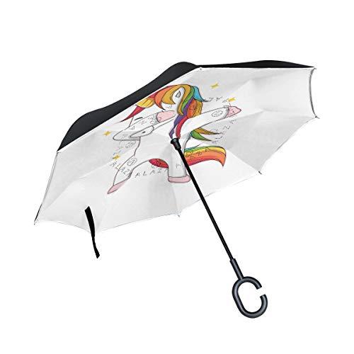 ISAOA paraguas grande de doble capa, paraguas plegable invertido para lluvia de coche, uso al aire libre, mango en forma de C autónomo de unicornio para hacer dubbing paraguas