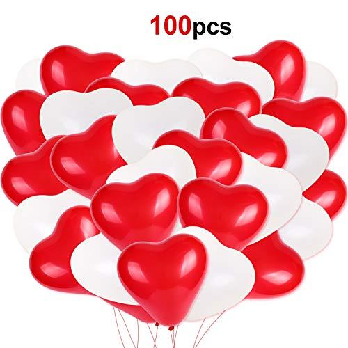 HOWAF 100 Piezas Globos de Corazon Rojo y Blanco Helio Globos de látex Corazones Bodas Fiesta Matrimonio Aniversario Cumpleaños decoración